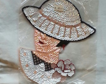 CLEARANCE. Vintage Handmade Sequin Lady with Hat Applique