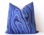 "Navy Blue sapphire Malachite Decorative Designer Pillow Cover 18"" Accent Cushion natural curiosities stone jewel tones gemstone indigo azure"