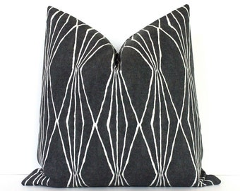 Charcoal Grey Geometric Decorative Designer Pillow Cover Accent Throw Cushion modern diamonds shapes ivory black bw gray slate iron storm