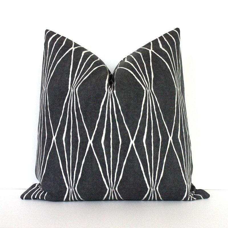 Charcoal Grey Decorative Pillows : Charcoal Grey Geometric Decorative Designer Pillow Cover
