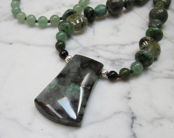 Prosperity - Columbian Emerald and Natural Green Semi-Precious Gemstone OOAK Heart Chakra Natural Crystal Healing Necklace