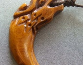 Tibetan Ox Bone Carved Chinese Dragon Head Tooth Shape Pendant Bead Jewelry 34mm x 12mm  T2038