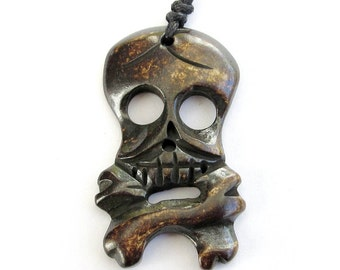 Ox Bone Pendant Carved Skull Skeleton Pendant Bead One For Making Supplies 40mm x 25mm  T0280