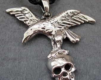 Silver Tone Metal Hawk Eagle Skull Head Pendant 53m x 48mm  T2403
