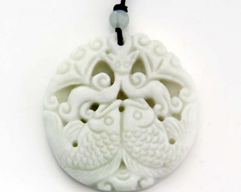 Twin Wealth Fishes And Blessing Bats Natural Stone Pendant 42mm x 38mm  TH249