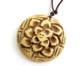Tibetan Ox Bone Carved Flower Pendant Bead 28mm x 28mm  T0077