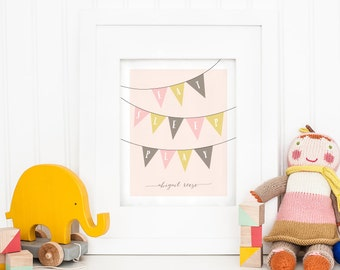 11 x 14 Personalized Nursery Art Print - Eat Sleep Play