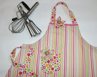 Pink Flowers and Stripes Children's Apron Size 5-6