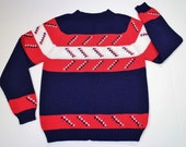 Vintage Ugly Sweater for Boys - Ski Sweater - Red White Blue Sweater - Boys Large - Retro Ski Chic