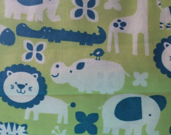 Happy Jungle  - blue and green - cotton flannel fabric - BTY