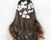 Back Cascade Flower Crown, Whimsical Headband, fairy wedding bridal,  white - BEATRICE - by DeLoop