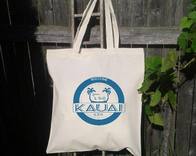 25  Wedding Welcome Bags-Personalized Wedding Tote -Kauai Stamp