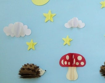 Hedgehogs and Mushroom 3D Wall Decals, Woodland Nursery Wall Art, Wall Decor