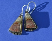 Reserved for Mare - Sterling Silver and Crazy Lace Agate Earrings