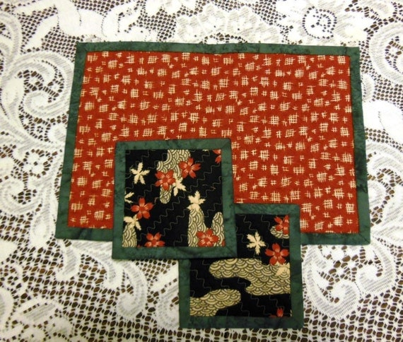 Quilted Coasters and Quilted Teapot Trivet by PiecedTogetherDesign