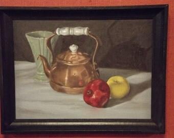 Copper Teapot Original Still Life Oil Painting Framed 9x12