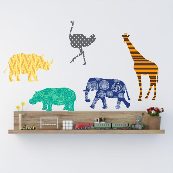 animal wall decals set nursery wall decor giraffe wall. Black Bedroom Furniture Sets. Home Design Ideas