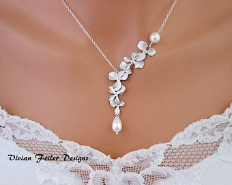 Bridal Pearl Necklace Orchid Necklace Wedding Jewelry Bridesmaid Gift Jewellery