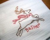 Cotton Dish Towel Reindeer Games Design Flour Sack Tea Towel Christmas Towel with Dasher