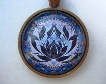 Yoga Necklace:  Lotus on Mandala Necklace (009)