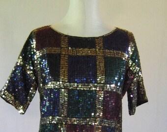 Plaid Squares Sequin Shirt Crop Top Diva Glam