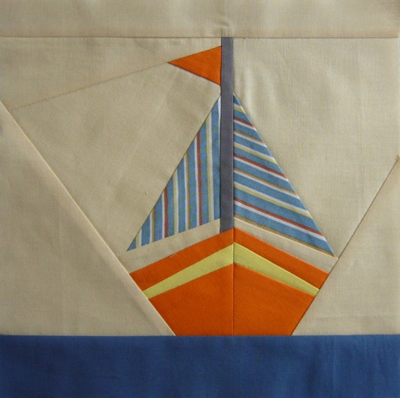 Sailboat quilt pattern paper pieced block sea quilt block