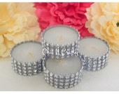 SALE White Unscented Bring On The Bling Tealight Candles ~Weddings~Events~Decoration~FREE SHIP