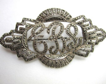 Art Deco Art Nuvo Brooch Vintage Brooch Silver Brooch Lapel Pin Women Teens Costume Jewelry Brooch Mad Men 60's