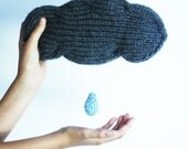 Cloud pillow music box with rain drop pull plays Brahms Lullaby, hand knitted from soft wool