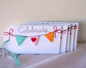 Birthday banner tag, Happy Birthday tag, Celebrate tag, Whimsical gift tag, Birthday gift tag