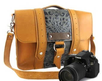 "15"" Sunrise and Green Paisley Ashbury Sonoma Leather Camera Bag"