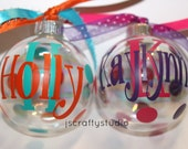 Custom Christmas personalized glass ball ornaments - christmas ornament - Monogrammed Christmas ornament