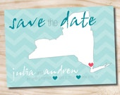 DESTINATION LOVE Vintage State Save the Date Postcard Wedding- You Print, DIY, Digital File