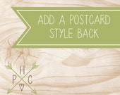 ADD ON >>> Add a postcard style back to any existing design <<<  >>> DIY <<<