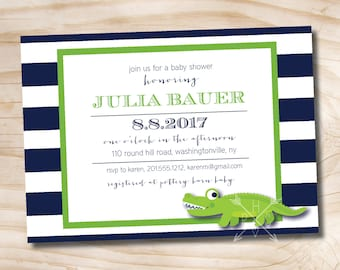 Alligator Stripe Baby Shower Invitation - Printable Digital file or Printed Invitations