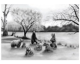 8x10 Illustration Print - 'Teddybear Picnic'