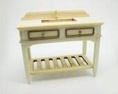 Miniature dollhouse furniture unfinished bath sink