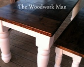 Farmhouse Table and Benches Handcrafted Solid Pine With Beautiful Hand Carved Legs
