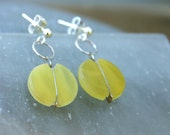 Yellow earrings,Glass ear...