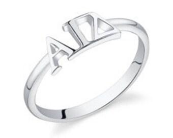 sterling silver alpha gamma delta letter ring