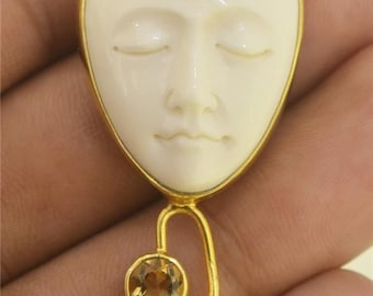 Goddess Face Citrine Garnet Gold Plated Pendant Jewelry with Soul E670