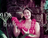 Vintage Hawaiian Village Hotel. Waikiki Beach, Hawaii. Color print from original 1955 negative. Mid-century tiki history. Tiki Decor