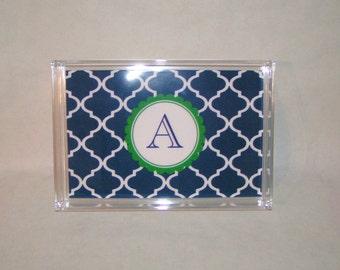 Monogram Tray - Acrylic Tray - Catchall Tray - Personalized Tray - Office Tray - Wedding Gift -Dorm Decor - Custom Lucite Tray 6.5 x 9.5