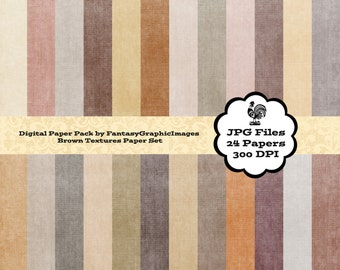 Brown Grunge Textures Digital Paper Pack - The Many Shades of Brown - 24 Papers - Scrapbooking - Backgrounds - Instant Download
