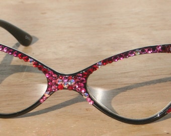 Bling Eyewear - Clear Lens Glasses, Rose Crystals, Prescription Ready, Acrylic Black Frames, 100% UV Protection, Retro, Vintage Style