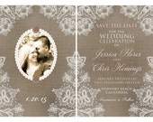 NEW Kraft Colored Linen and Lace photo Save the Date card or post card