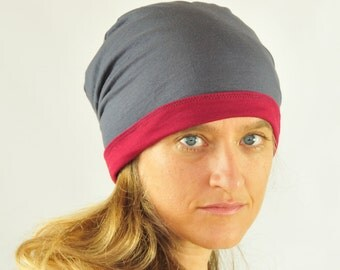 Slouchy Hat - Beanie -Reversible - Unisex - Gray Ruby Red - Organic Clothing - Eco Friendly Jersey