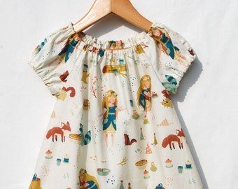 First Birthday Eco Friendly - Organic Peasant Dress for Girls - Woodland Print - Organic Clothing - Flower Girl