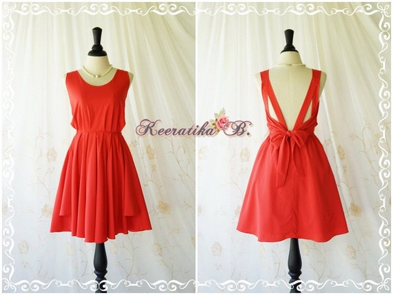 A Party V Backless Dress Cocktail Dress Wedding Bridesmaid Dress Party Prom Dress Backless Dress Homecoming Bright Red Dress