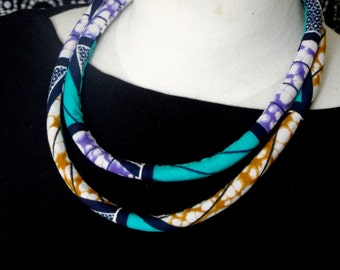 Turquoise and Purple Wax Print Fabric - Double Loop Rope Necklace